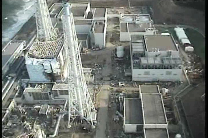 Reactor building of Unit1-2 at Fukushima Daiichi Nuclear Power Station(mountain-side)