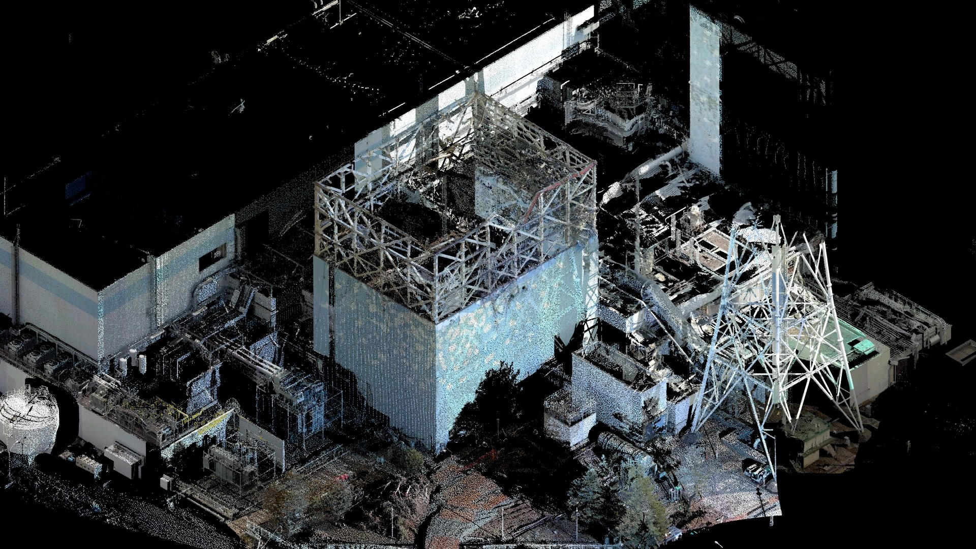 A montage of laser scan data and construction data 1