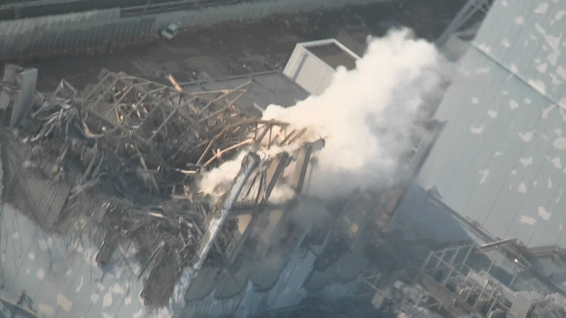 Unit 3 of Fukushima Daiichi Nuclear Power Station (pictured from a helicopter)